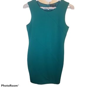 Banana Republic teal curve hugging lined dress